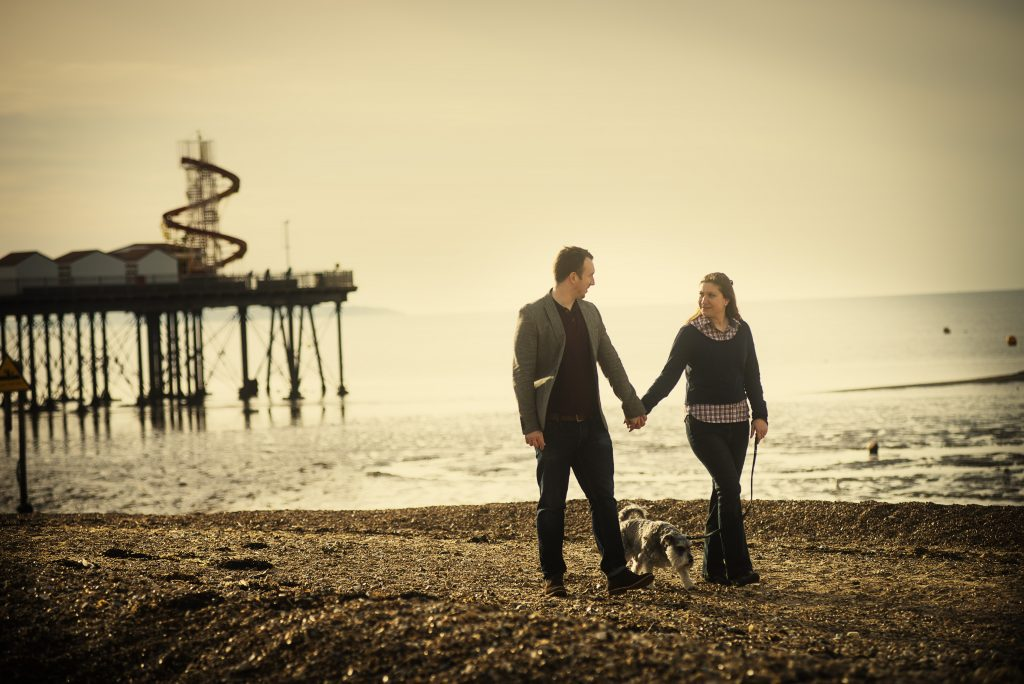 location portrait on beach at Herne Bay pier